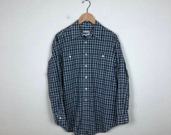 Vintage DKNY Plaid Button Up Size Medium, DKNY Shirt, 90s Plaid Button Up M