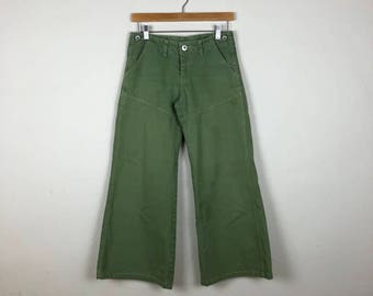 Vintage Army Green Wide Leg Pants Size 26, Wide Leg Pants Small, Cropped Denim