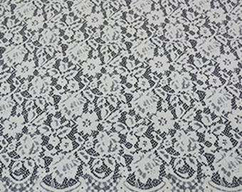 White Eyelash Flower Lace Fabric Lace Trim 59.05 Inches Wide 1.64 Yards/ Craft Supplies, WL1466