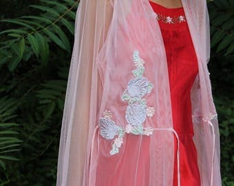 Sheer Floral Embroidered Full Length Robe
