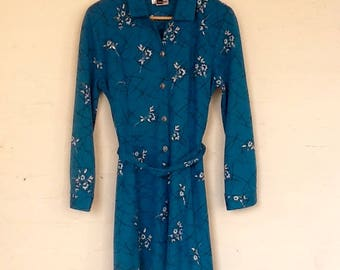 Turquoise 1970s vintage long sleeved dress with belt by Symphony- M/L