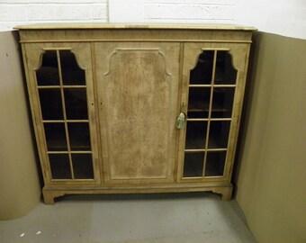 Beautiful Vintage Bleached Walnut Bookcase / Side cabinet