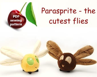 Parasprite (my little pony fly) stuffed animal  plushie PDF sewing pattern - cute and easy kawaii anime DIY plush toy with embroidery files