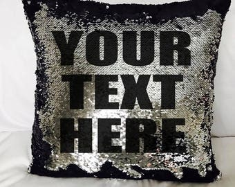 CUSTOM text Mermaid Pillow Reversible Sequin Scale Cover Insert, personalized, your text, hidden message, cushion, gift, name, date, baby
