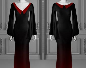 Morticia Wednesday Addams dress gothic ombre red
