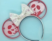 Snow White Evil Queen Poison Apple 3D Printed Mouse Ears | Minnie Ears | Sequin Bow | Disney Vacation | Headband Ears | Mouse Ears | Disney