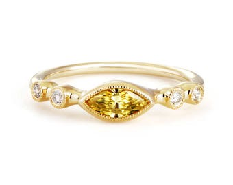 14k yellow gold yellow diamond stackable ring