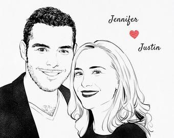 Custom couple portrait, couple portrait, portrait from photo, wedding portrait drawing, personalized gift for couple, anniversary gifts