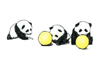 panda babies playing watercolor giclée print