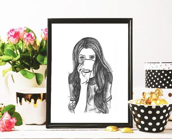Coffee Lover Modest Fashion Illustration 8x10 Print