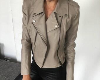 Women Leather Biker Jacket in Beige Oatmeal in Size   Small
