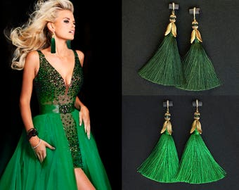 Natural Silk Tassel Earrings with Gold Plated and CZ Earwires. Long Earrings. Green Tassel Earrings.