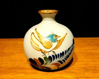 Vintage Mexican Tonala Bird Vase Bud Vase
