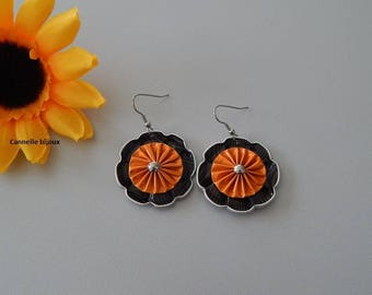 Earrings with orange and Brown nespresso capsules dark flower shape