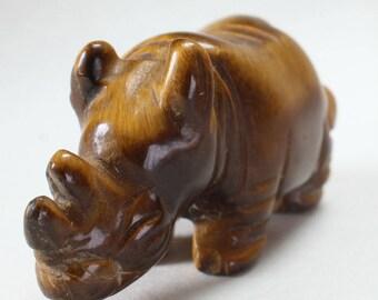 Rhino Rhinoceros Carving Stone Carving Animal Fetish Figurine Tigers Eye Cats Eye