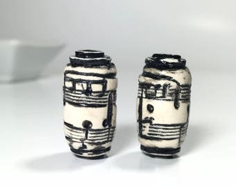 Music Beads, Black And White Polymer Clay Beads, Handcrafted Art Beads, Black And White Tube Beads, Textured Beads, Music Note Bead