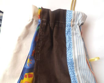 Bag of linen and velvet pouch