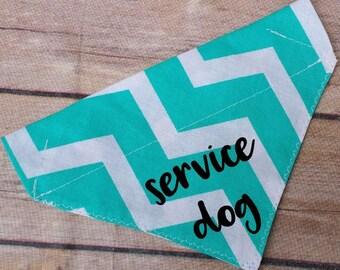 Service Dog Bandana / Therapy Dog Bandana / Dog Bandana / Over the Collar / Slide On Bandana / Large Dog / Medium Dog / Small Dog