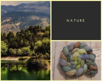 Nature, Hand dyed 100% Merino Wool, combed top, roving, spinning fiber