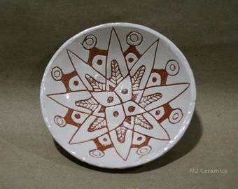 Ceramic plate, Plant ornament, folk ornament, handmade plate, plate with a star, white plate, picture of flora, small plate, pottery, ethnic