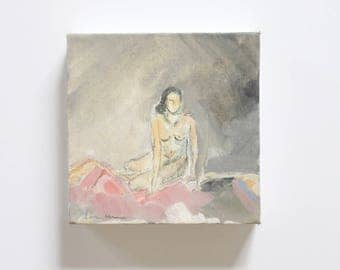 Pink Lady on Canvas / Figure Painting / Original Oil  /  Naked Lady Art / Nude Drawing