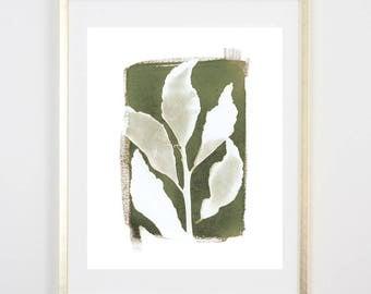 Green Botanical Cyanotype 6 PRINT / Handmade Art Print / Original Botanical Floral Cyanotype Photogram Art / 8x10