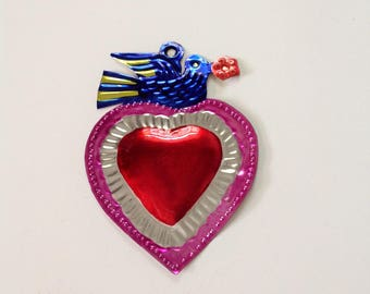 Tin Heart Plaque Handmade Mexican Tin Wall Ornament Mexican Folk Art Recycled Art Hammered