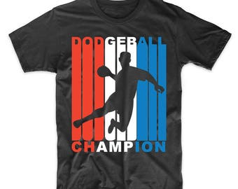Retro 1970's Style Red White And Blue Dodgeball Champion T-Shirt