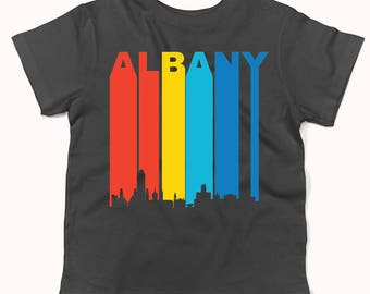 Retro 1970's Style Albany New York Cityscape Downtown Skyline Infant / Toddler T-Shirt