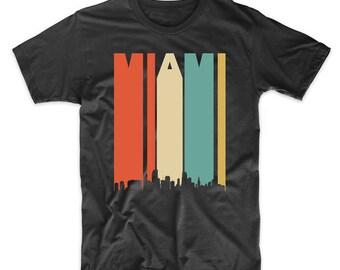 Vintage Retro 1970's Style Miami Florida Cityscape Downtown Skyline T-Shirt