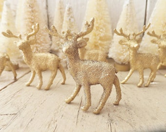 Miniature GOLD Deer ~ 6 Count ~ Christmas Woodland Craft Supply ~ Holiday Decor ~ Fairy Garden