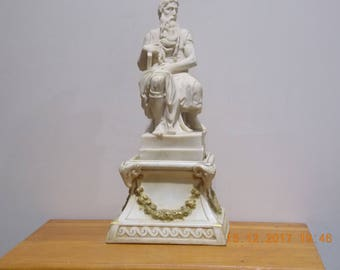Vintage French Moses statue on china plinth religious statue church saint discipale Jesus
