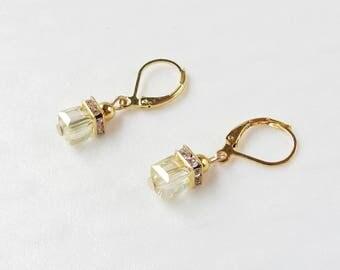 Gold crystal bead earrings / yellow cube beads / rhinestone earrings