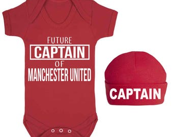 Future Captain of Manchester United Baby Vest and Hat Set Sleep suit  Baby Shower Gifts Football Club New Baby gift Football Lovers