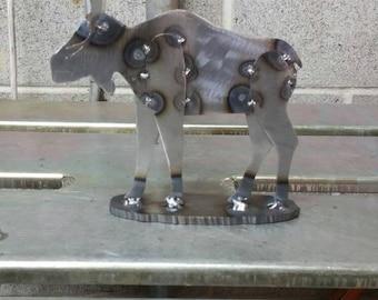 Metal moose. Tig welded sheet steel with base.