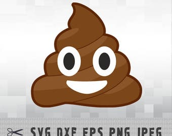 Poop Emoji Smiley Face SVG PNG DXF Vector Cut File Silhouette Studio Cameo Cricut Design Template Stencil Vinyl Decal Transfer Iron on
