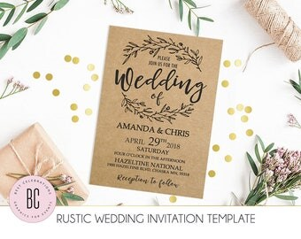 Kraft Wedding Invitation, Rustic Wedding Invitation Set, Printable Wedding Template, You Print