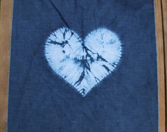 Indigo hand dyed shibori heart polycotton square
