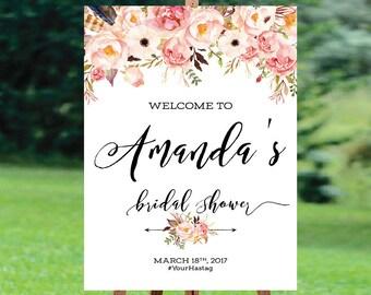 Bridal Shower sign, Bridal Shower Welcome Sign, Bridal Shower decoration, welcome wedding sign, Bridal shower invitation - US_BS0107b