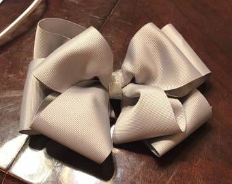 "Grey and Silver Double Stacked Bow 4"" 6"" or 8"""