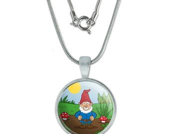 "Garden Gnome with Toadstools 0.75"" Pendant with Sterling Silver Plated Chain"