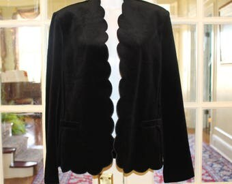 Vintage Black Velvet Jacket Blazer Size 12 made by Act III
