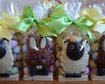 Solid Milk and White Chocolate Easter Bunny and Sheep Animal Gift Bags - Easter Chocolate - Easter Bunny