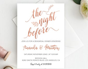 Wedding Rehearsal Dinner Invitations - Night Before - Rose Gold Wedding Invites - Simple Wedding - Downloadable wedding #WDHSN8115