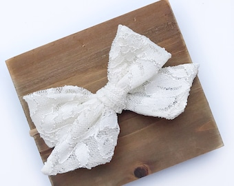 Ivory / Lace Bow/ Baby Girl Headband/ Toddler Headband/ Nylon/ Nonslip Clip