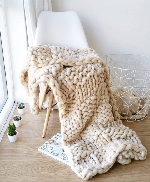 Chequered Pattern New Pattern Chunky Knit Blanket New