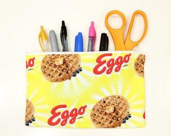 """Eggo Waffle Fabric Pencil Pouch – 8"""" x 5"""" Eggo Fabric Pencil Pouch – Waffle Zipper Pouch – Eggo Waffle Fabric Bag – Eggo Fabric Make Up Bag"""