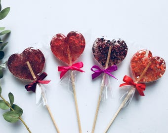 Pink, purple, red heart favor, set of 4 sweet lollipop, natural berry collection, Wedding or Birthday party favor, amazing gift for guests