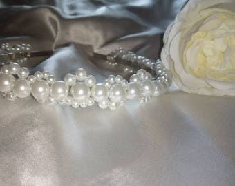 White pearl headband, tiara, hair accessory, wedding