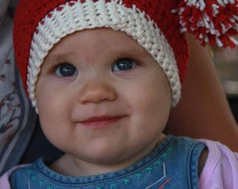 Santa Hat Crochet, Elf Hat, Baby Hat, Toddler Hat, Kids Santa Hat, Christmas Hat, Winter Hat